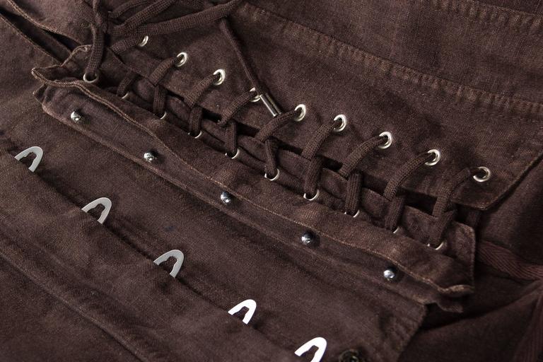 1990s Jean Paul Gaultier Linen Corset Blazer For Sale 5