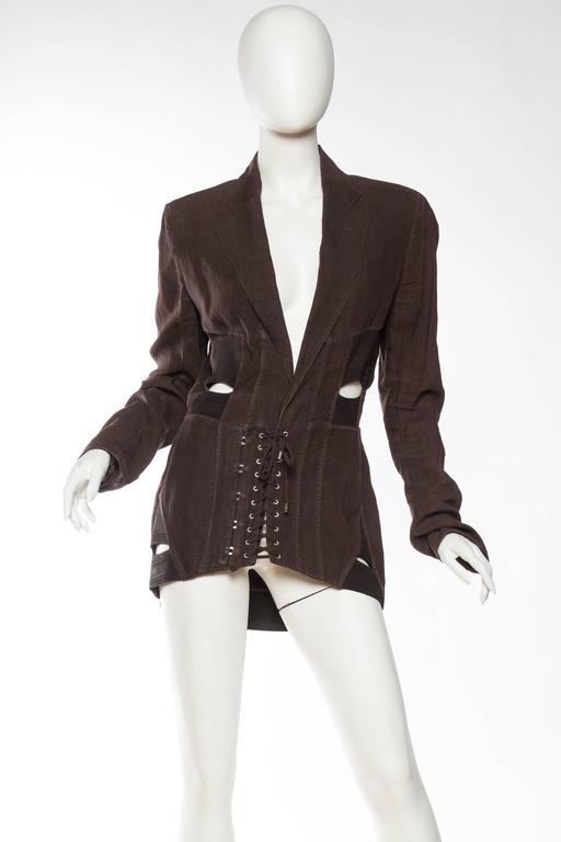 Black 1990s Jean Paul Gaultier Linen Corset Blazer For Sale