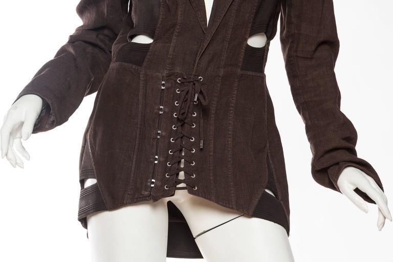 1990s Jean Paul Gaultier Linen Corset Blazer For Sale 4