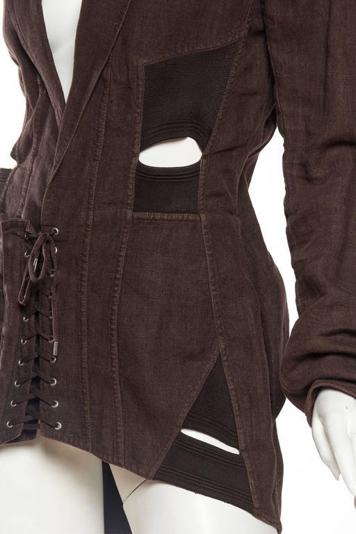 1990s Jean Paul Gaultier Linen Corset Blazer For Sale 3