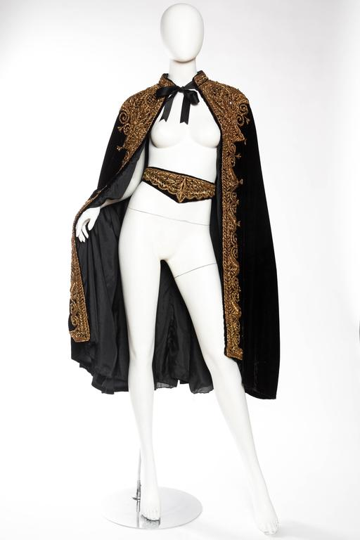 Black Lush Velvet Cape Elaborately Embroidered with Metallic Copper For Sale