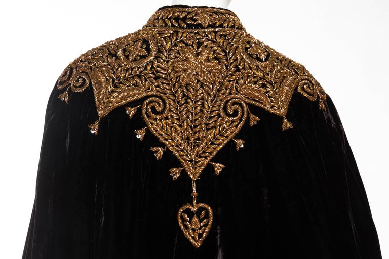 Lush Velvet Cape Elaborately Embroidered with Metallic Copper For Sale 3
