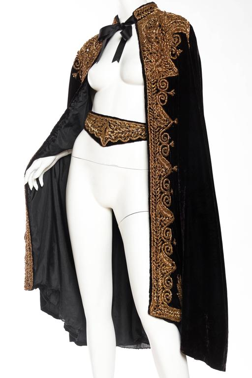 Women's or Men's Lush Velvet Cape Elaborately Embroidered with Metallic Copper For Sale