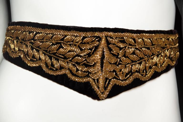 Lush Velvet Cape Elaborately Embroidered with Metallic Copper For Sale 4