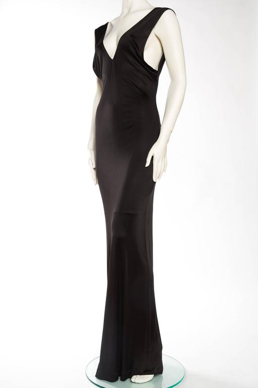 1990s Vintage Versus Versace Slinky Backless Jersey Gown  In Excellent Condition For Sale In New York, NY