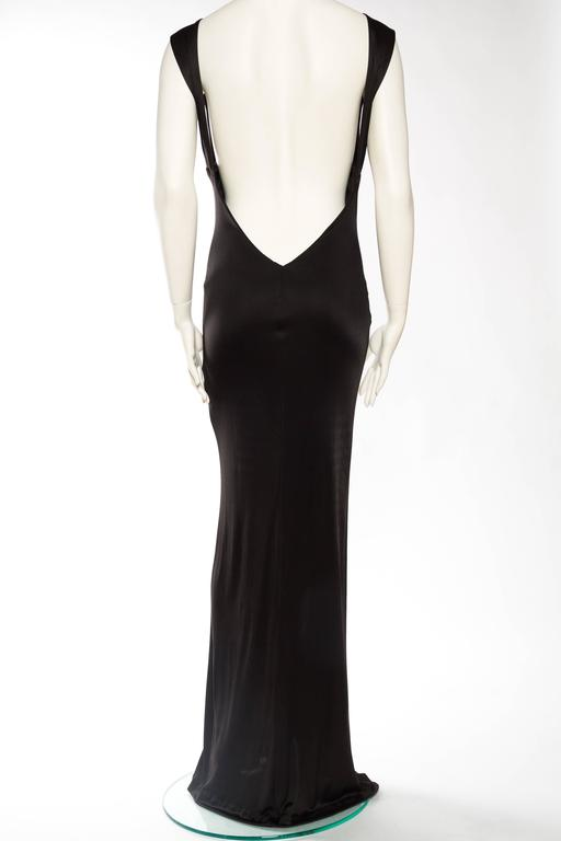1990s Vintage Versus Versace Slinky Backless Jersey Gown  For Sale 1