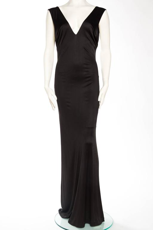 1990s Slinky Backless Jersey Gown by Versus