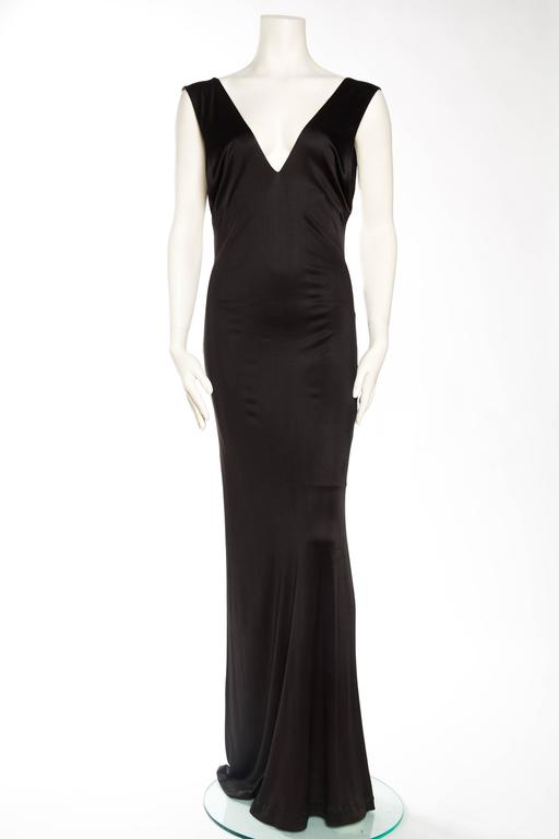 Black 1990s Vintage Versus Versace Slinky Backless Jersey Gown  For Sale