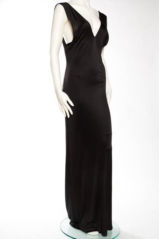 Women's 1990s Vintage Versus Versace Slinky Backless Jersey Gown  For Sale