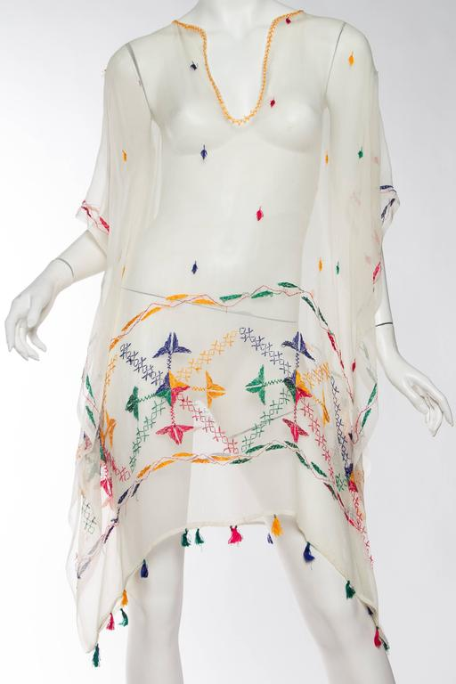 Vintage Silk Chiffon Tunic with Hand Embroidery 2