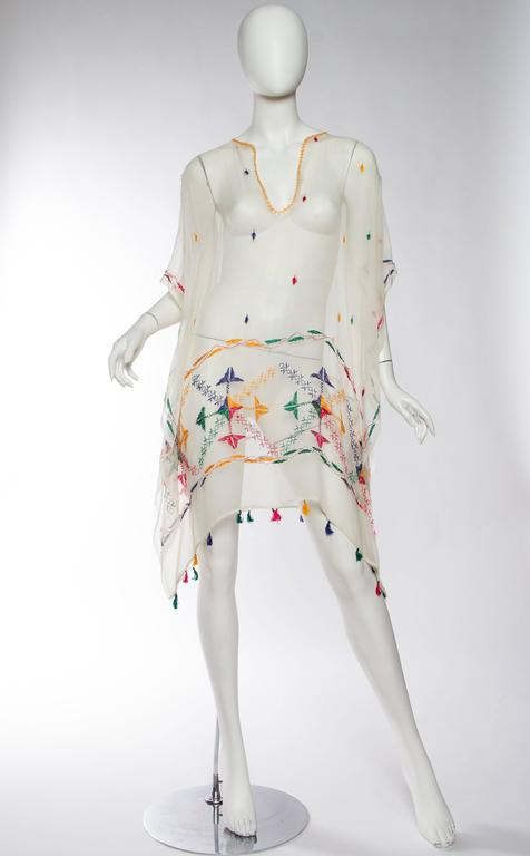 Vintage Silk Chiffon Tunic with Hand Embroidery 3