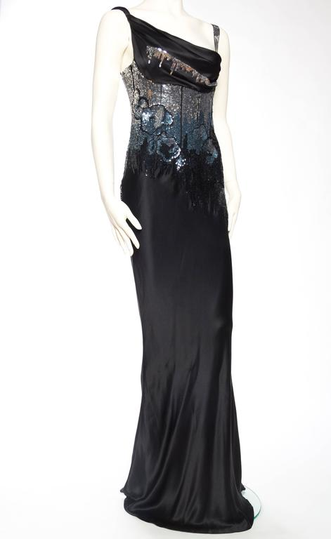 Fantastic Sequined Bias-Cut Satin Gown by John Galliano In Excellent Condition For Sale In New York, NY
