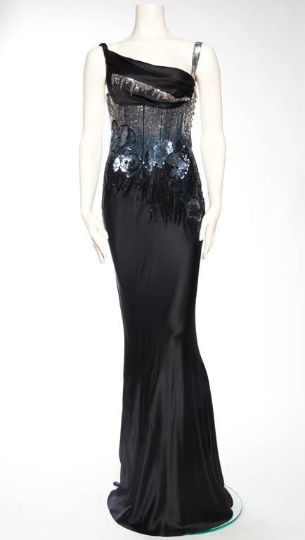 Black Fantastic Sequined Bias-Cut Satin Gown by John Galliano For Sale