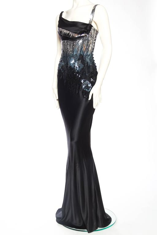 Women's Fantastic Sequined Bias-Cut Satin Gown by John Galliano For Sale