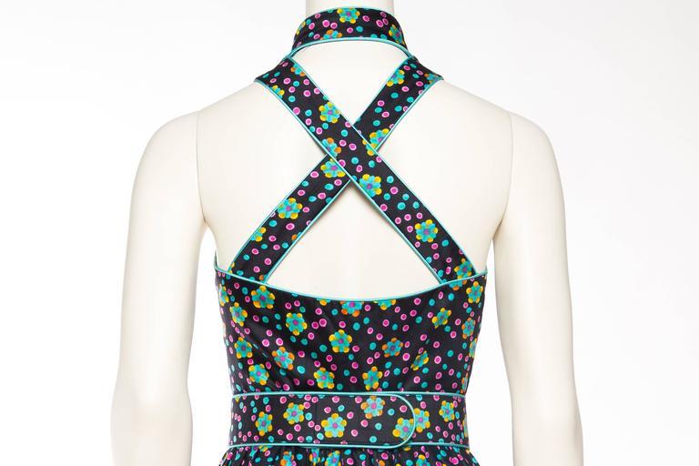 Rare Early 1970s Oscar De la Renta Cotton Floral Dress For Sale 2