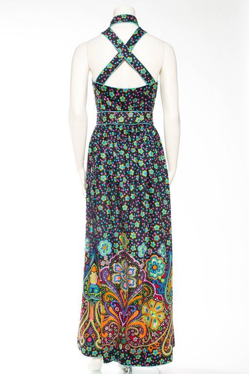 Women's Rare Early 1970s Oscar De la Renta Cotton Floral Dress For Sale