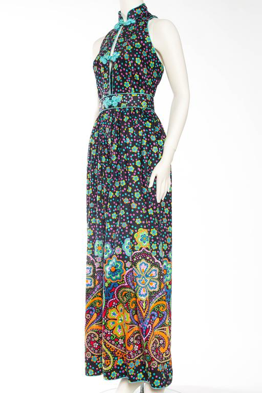 Rare Early 1970s Oscar De la Renta Cotton Floral Dress In Excellent Condition For Sale In New York, NY