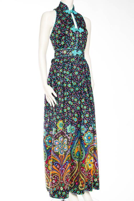 Black Rare Early 1970s Oscar De la Renta Cotton Floral Dress For Sale