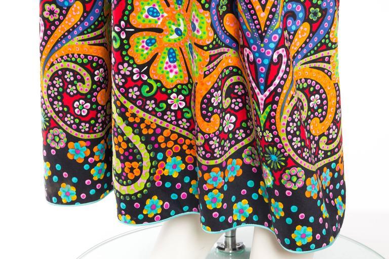 Rare Early 1970s Oscar De la Renta Cotton Floral Dress For Sale 4