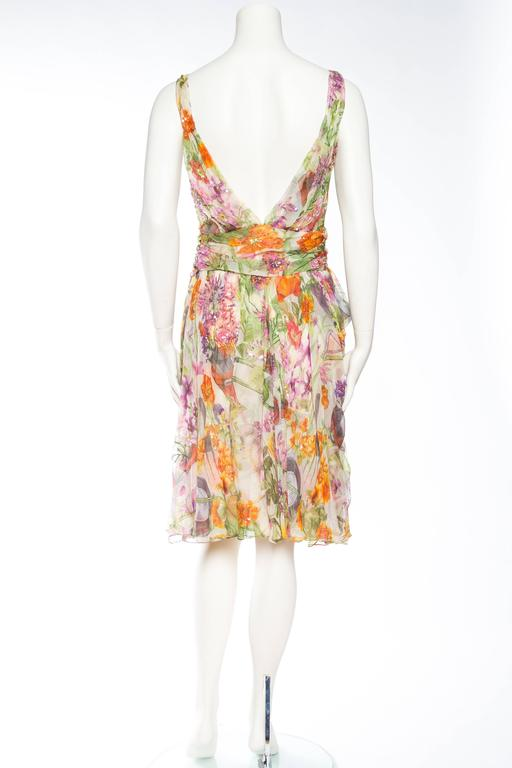 Women's 1990S JOHN GALLIANO CHRISTIAN DIOR Pastel Floral Silk Chiffon Backless Beaded G For Sale