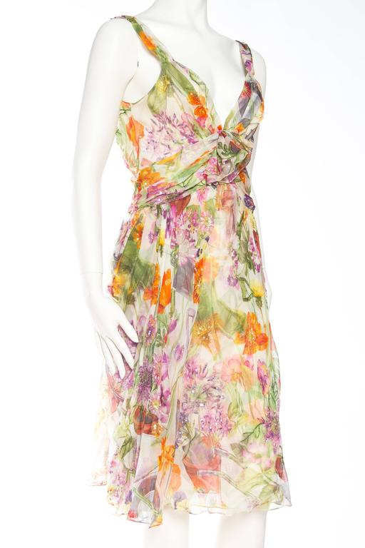 Beige 1990S JOHN GALLIANO CHRISTIAN DIOR Pastel Floral Silk Chiffon Backless Beaded G For Sale