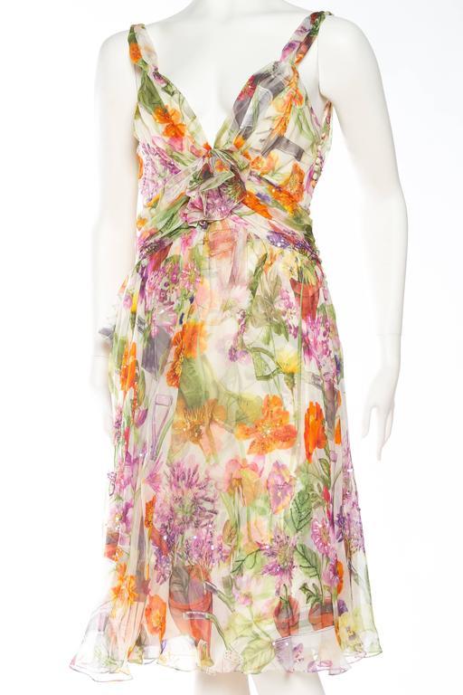 1990S JOHN GALLIANO CHRISTIAN DIOR Pastel Floral Silk Chiffon Backless Beaded Garden Cocktail Dress