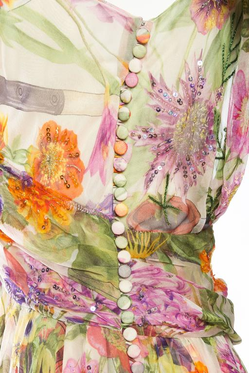 1990S JOHN GALLIANO CHRISTIAN DIOR Pastel Floral Silk Chiffon Backless Beaded G For Sale 4