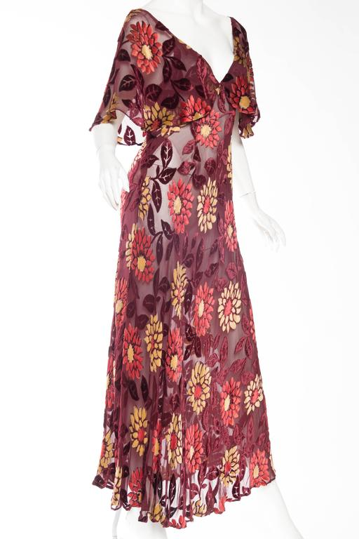 1930s Sheer Bias Cut Silk Burnout Velvet And Chiffon Dress