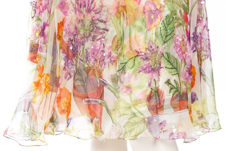 1990S JOHN GALLIANO CHRISTIAN DIOR Pastel Floral Silk Chiffon Backless Beaded G For Sale 2