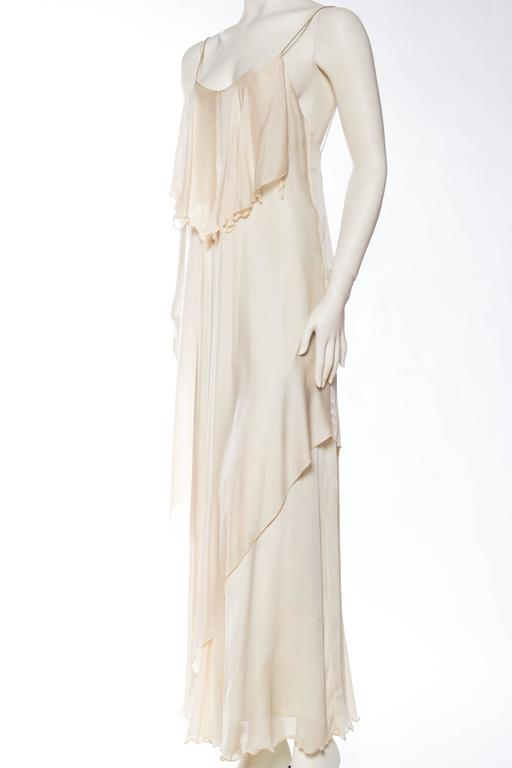 1970s Vicky Tiel Jersey and Chiffon Dress 4