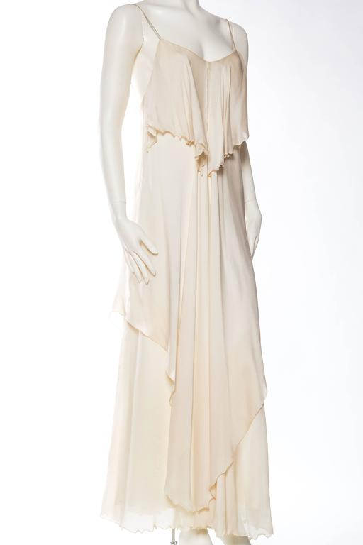 1970s Vicky Tiel Jersey and Chiffon Dress 3