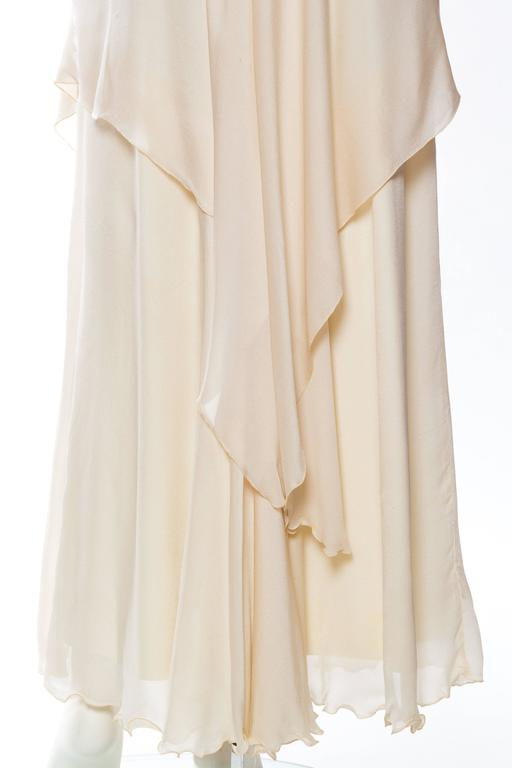1970s Vicky Tiel Jersey and Chiffon Dress 7