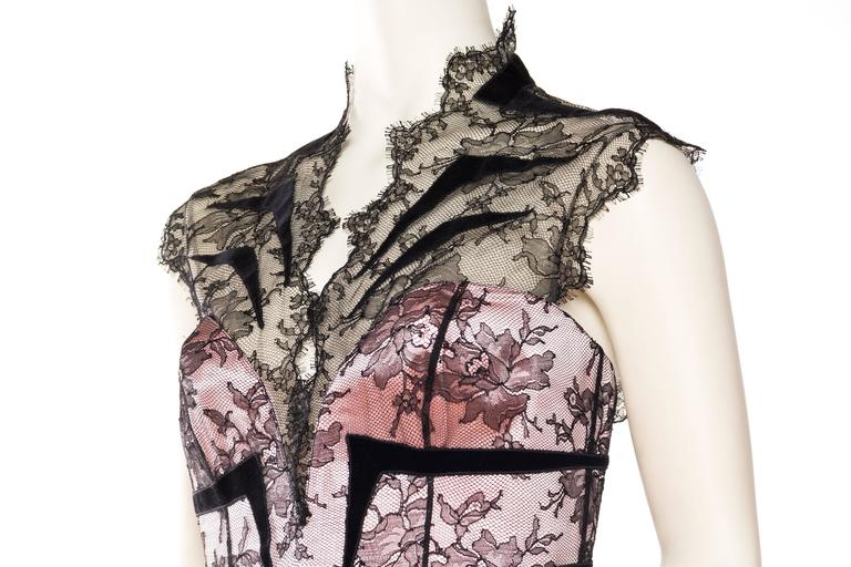 Thierry Mugler Satin and Lace Trained Gown Large EU44 For Sale 1