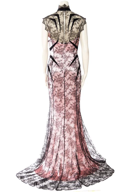 Women's Thierry Mugler Satin and Lace Trained Gown Large EU44 For Sale