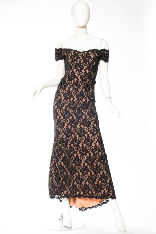 Black Lace Trained Gown by Victor Costa 3