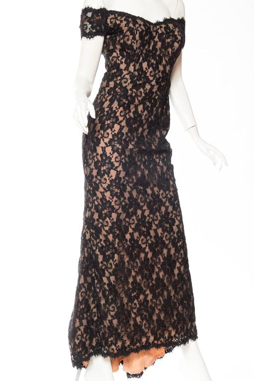 Black Lace Trained Gown by Victor Costa 4