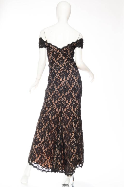 Black Lace Trained Gown by Victor Costa 5
