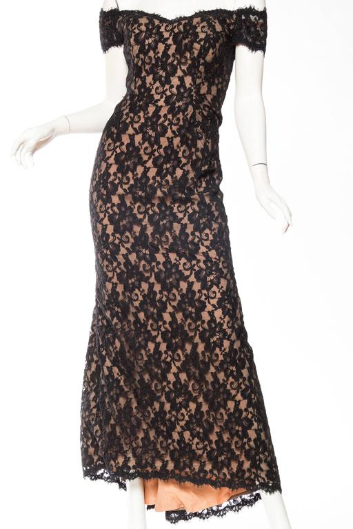 Black Lace Trained Gown by Victor Costa 2