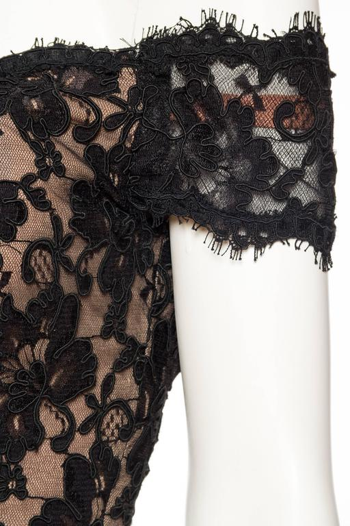 Black Lace Trained Gown by Victor Costa 7