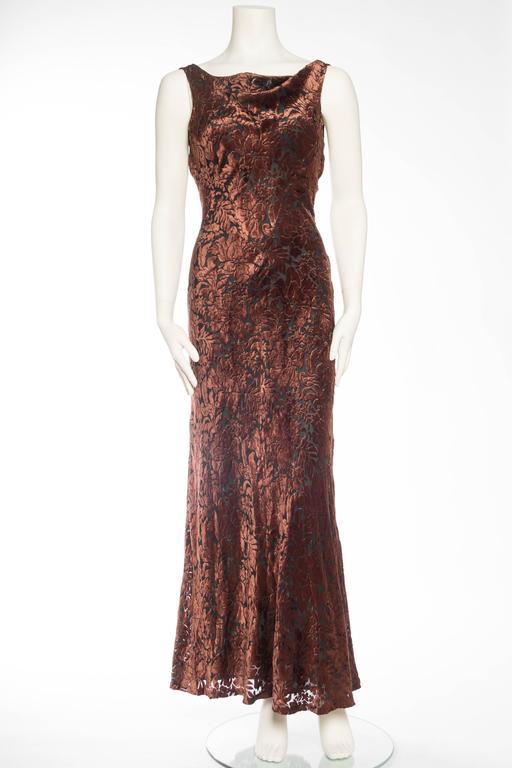 1990s Backless Velvet Carmen Marc Valvo Gown For Sale at 1stdibs