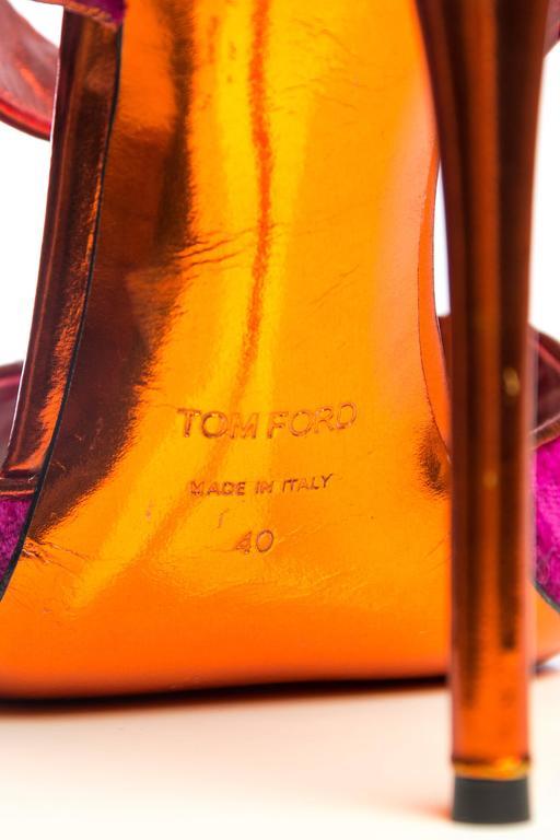 Tom Ford Metallic and Velvet Peep-Toe Pumps For Sale 5