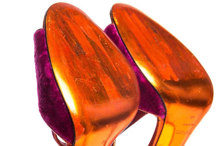 Tom Ford Metallic and Velvet Peep-Toe Pumps For Sale 4