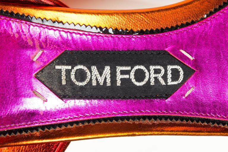 Tom Ford Metallic and Velvet Peep-Toe Pumps For Sale 3