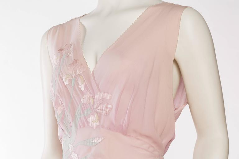 1930s Couture Silk Negligee Slip Dress For Sale 1