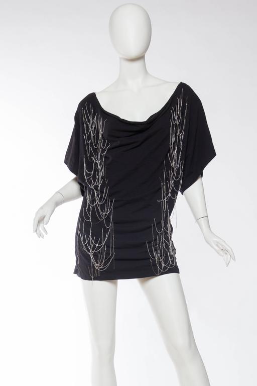 Black John Galliano Punk Rock Chain Fringe T-Shirt For Sale