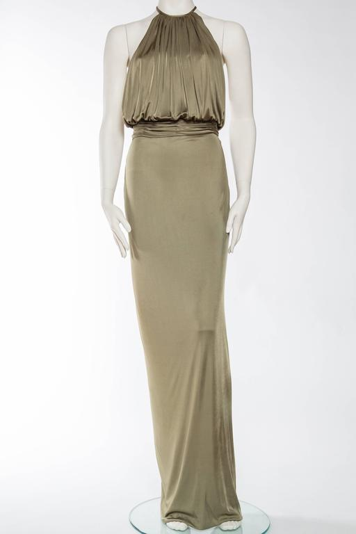 Brown Versace Slinky Backless Jersey Gown  For Sale