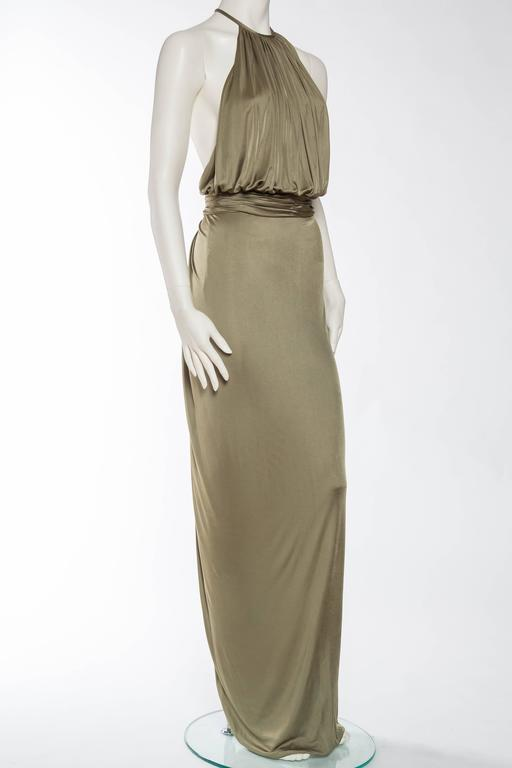 Versace Slinky Backless Jersey Gown  In Excellent Condition For Sale In New York, NY