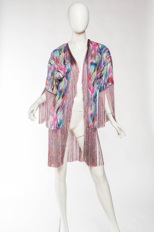 1970s Missoni Fringed Silk Jersey Kimono 2