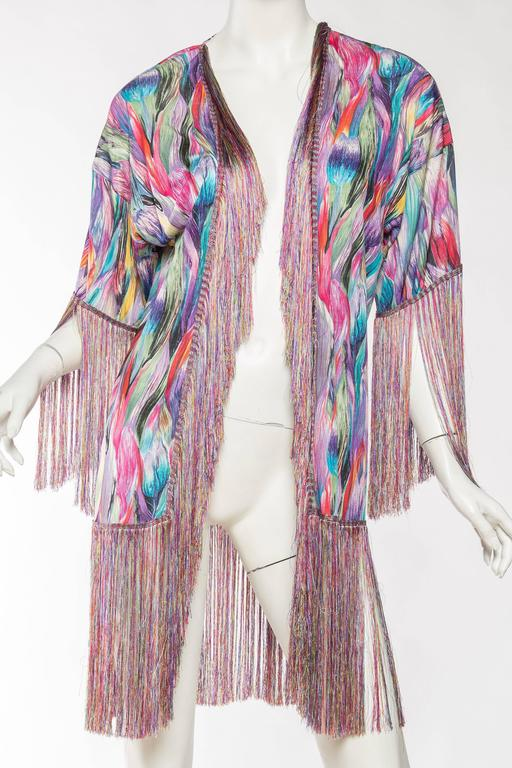 1970s Missoni Fringed Silk Jersey Kimono In Excellent Condition For Sale In New York, NY
