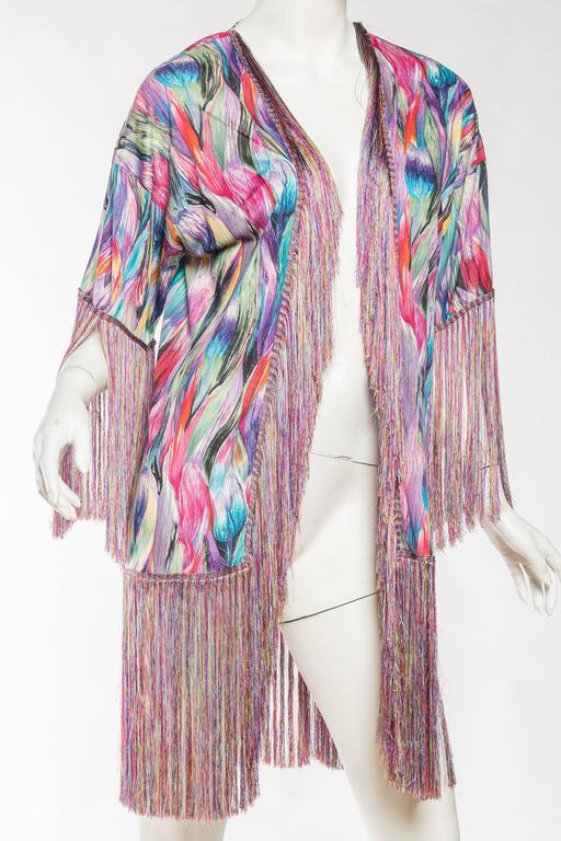1970s Missoni Fringed Silk Jersey Kimono 4